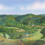 Sustainable Farm Design: Final Rendering in 3D Watercolor